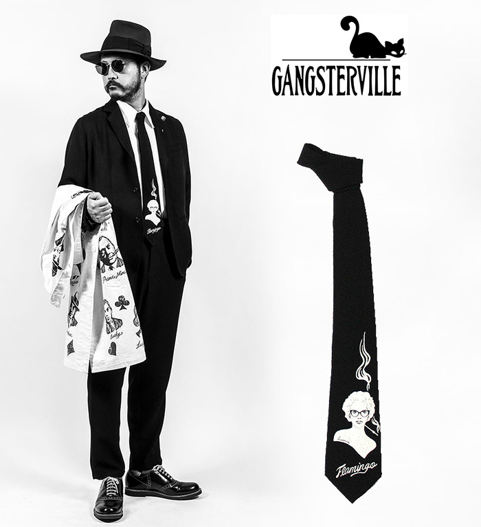 GANGSTERVILLE/ギャングスタービル by GLADHAND - Virginia Tie ヴィンテージラバープリント縮緬ネクタイSIZE:FREE COLOR:BLACK※日本国内 送料無料・代引手数料無料※