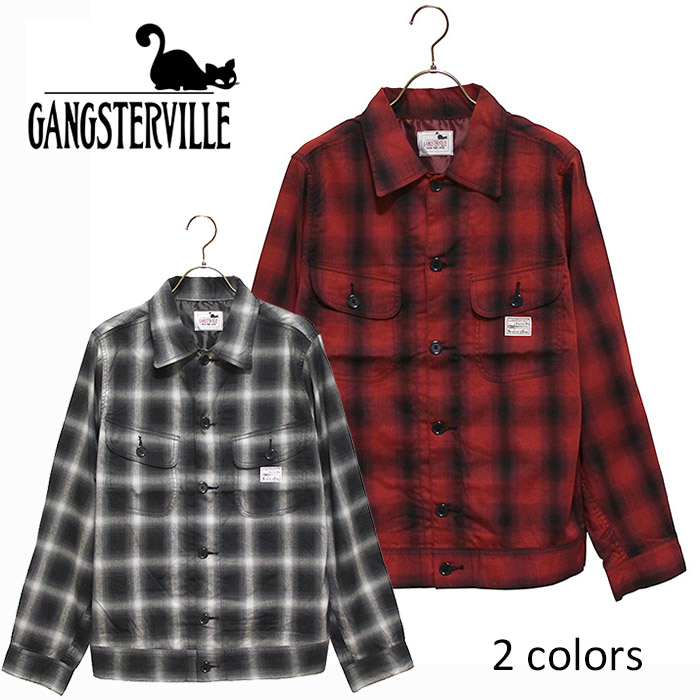 GANGSTERVILLE/ギャングスタービル by GLADHAND - Jack CPO Check Jacket - コットンレーヨン混紡オンブレーチェックジャケット(Gジャンタイプ)