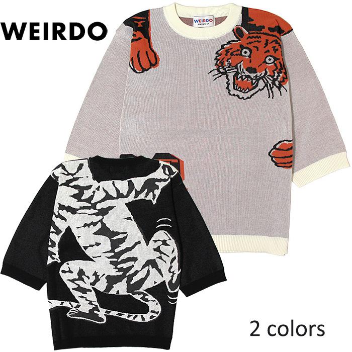 WEIRDO/ウィアード by GLADHAND - RINGING TIGER - H/S KNIT SWEATER - 5分袖タイガー柄コットンヂャカードニット ※日本国内送料無料・代引手数料無料※