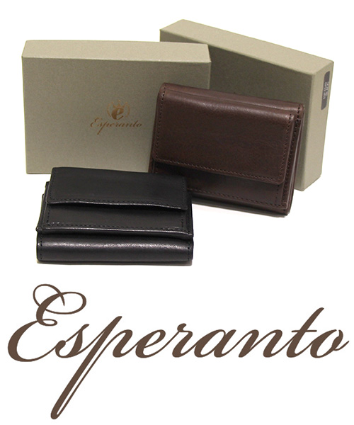 esperanto(エスペラント) イタリアレザー コンパクト財布(三つ折りタイプ)
