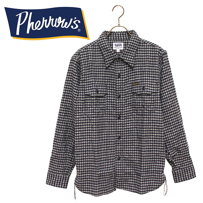 PHERROW'S(PHERROWS)/フェローズウール混コットンギンガムチェックネルシャツ※送料・代引手数料無料※