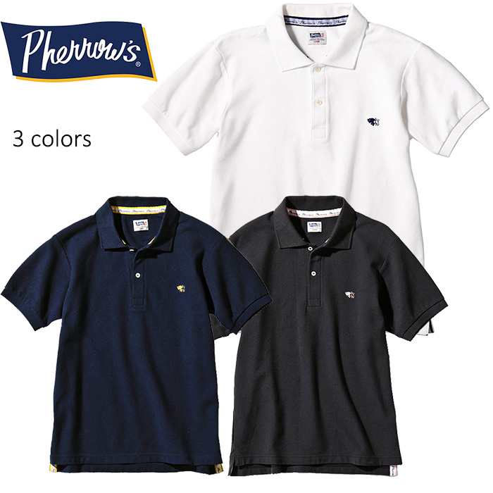 "PHERROW'S(PHERROWS)/フェローズバッファローワンポイント刺繍半袖ポロシャツ""PPS1″本品はポイント+4倍です!"