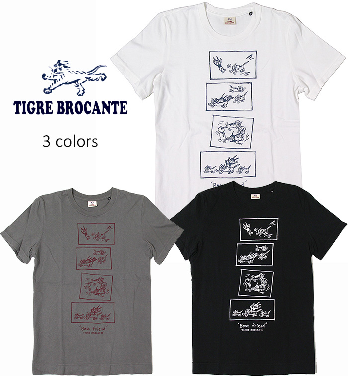 TIGRE BROCANTE[ティグルブロカンテ] - Best Friend S/S Tee - プリントデザイン半袖Tシャツ【レディース&ユニセックスサイズ】