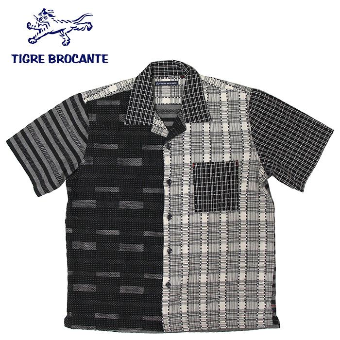 TIGRE BROCANTE[ティグルブロカンテ] 刺し子パッチワークBOX半袖シャツ※日本国内 送料・代引手数料無料※