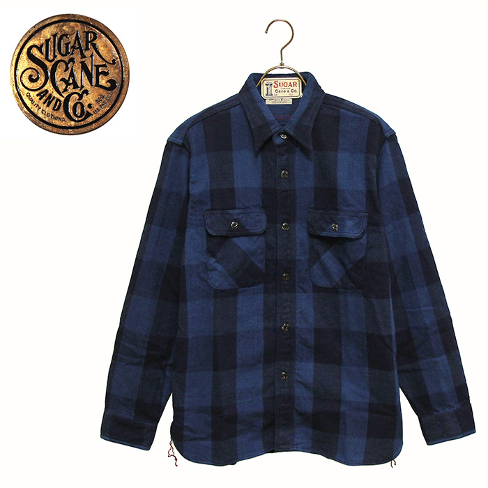 SUGAR CANE(シュガーケーン)インディゴ染チェック柄フランネルワークシャツ