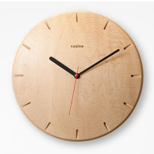 コサインcosineno.270時計メープル材[木の時計木製時計無垢の掛け時計北欧風のおしゃれな時計][沖縄配送不可]