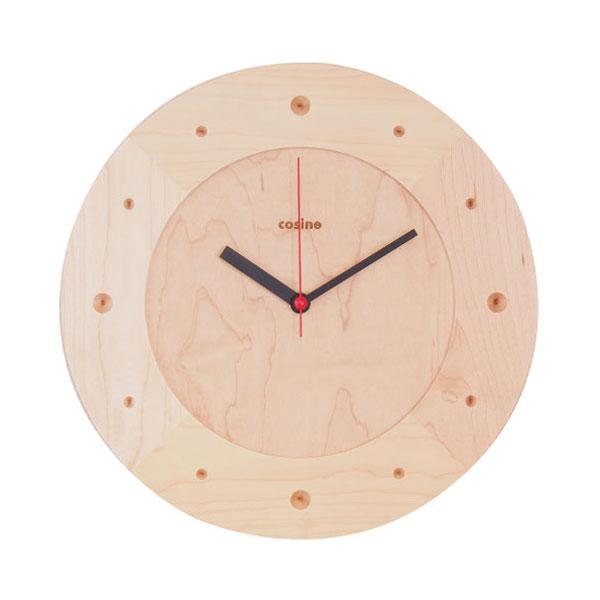 cosine(コサイン)掛け時計丸メープル材[木の時計 木製時計 無垢の掛け時計 北欧風のおしゃれな時計]【P10】