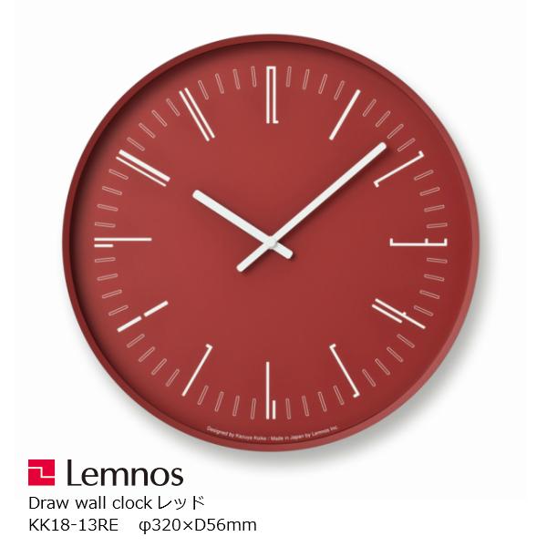 LEMNOS(レムノス)Drawwallclock(ドローウォールクロック)レッドKK18-13RE[スイープセコンド小池和也タカタレムノス]