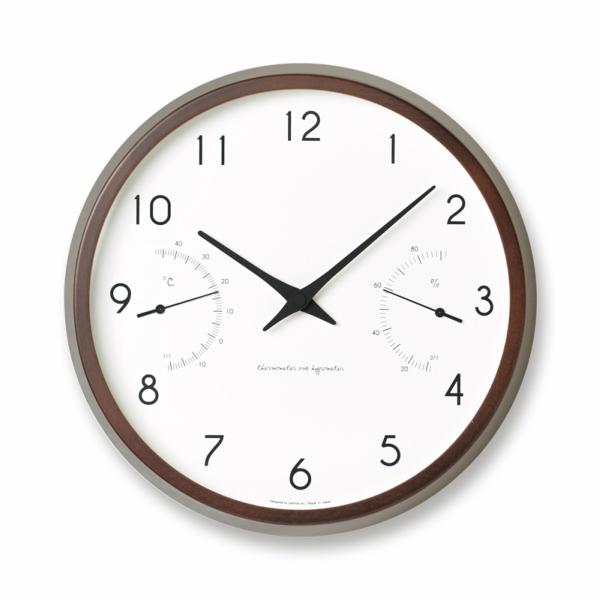 タカタレムノス 壁掛け時計 カンパーニュ エール ブラウンCampagne air PC17-05BW[ 温湿機能付掛時計 ]