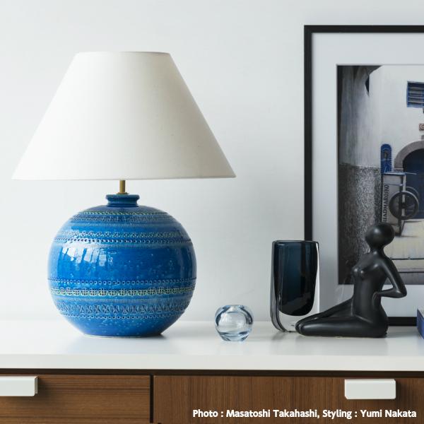リミニブルーベースランプロー[アルド・ロンディ ビトッシ イタリア 陶器 ランプ オーナメント オブジェ ロンディブルー][お取り寄せ]