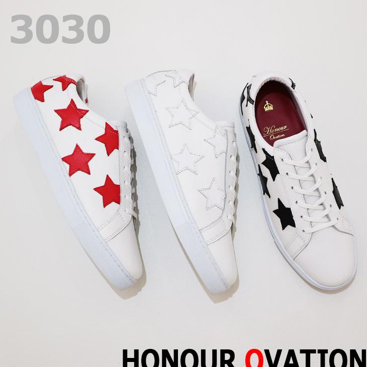 アナーオベーション(Honour Ovation) スニーカー オールレザー STAR デザインスニーカー 3030