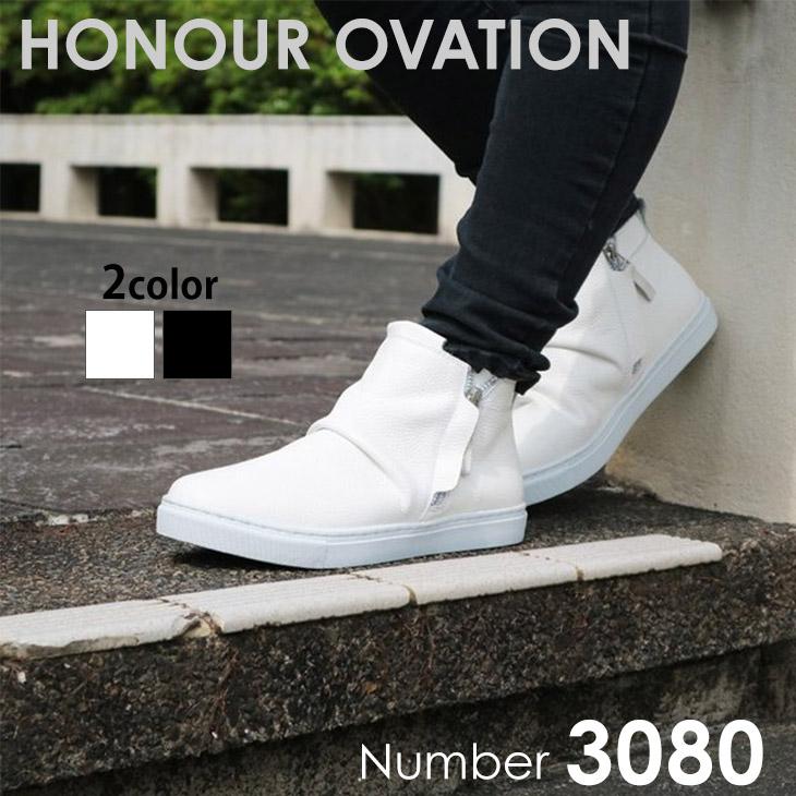アナーオベーション(Honour Ovation) レザーハイカット スニーカー サイドジップ 本革 紳士靴 [3080]