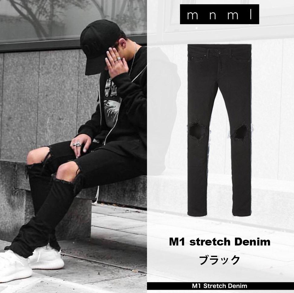 ミニマル(mnml) M1 ストレッチ デニム ダメージ 裾ジップ スキニー