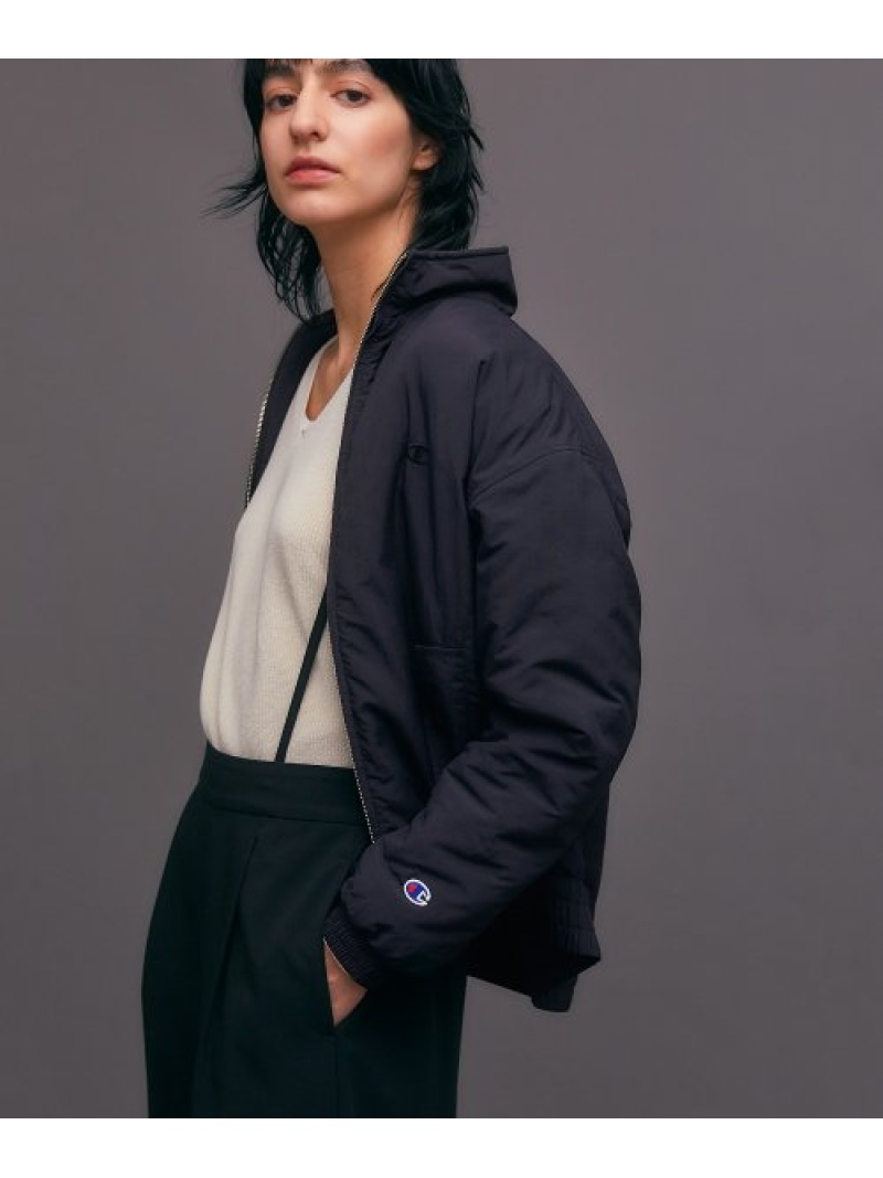 [Rakuten Fashion]Championナイロンワッシャージップジャケット DOORS アーバンリサーチドアーズ コート/ジャケット ナイロンジャケット ネイビー ブラック【送料無料】