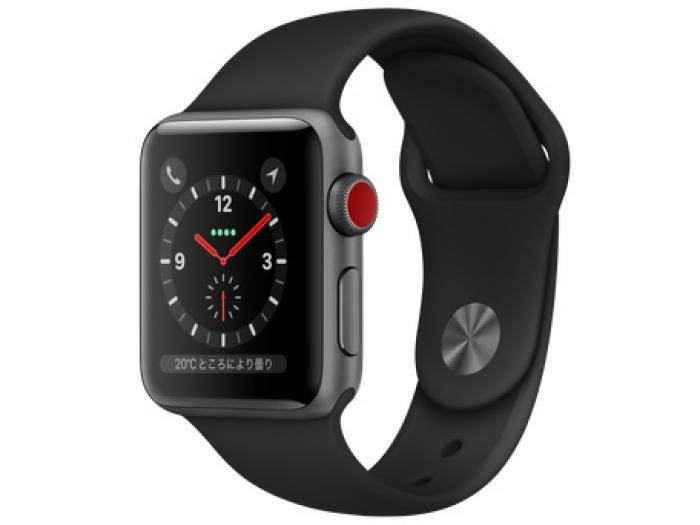 【中古】Apple Apple Watch Series3 38mm スペースグレイ アルミケース ブラックスポーツバンド MTGP2【Bランク】【送料無料】【アップルウォッチ】