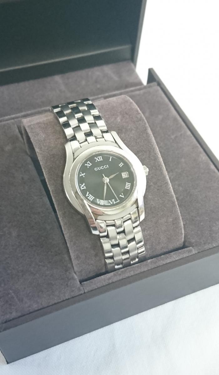 【中古】GUCCI 腕時計 5500L ブラック レディース【Bランク】【送料無料】