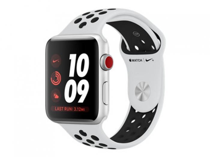 【中古】apple Apple WatchNike+ Series 3 GPS+Cellularモデル 42mm MQME2J/A ピュアプラチナ/ブラックNikeスポーツバンド