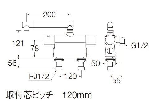 【新品】 三栄水栓 バス用混合栓 サーモデッキシャワー混合栓 取付芯ピッチ120 SK78501DT2