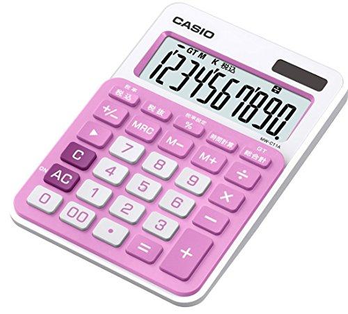 【新品】 カシオ カラフル電卓 ミニジャストタイプ 10桁 MW-C11A-PK-N ベイビーピンク