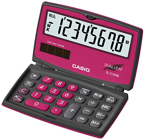【新品】 カシオ カラフル電卓 折りたたみ手帳タイプ 8桁 SL-C100B-BR-N ベリーピンク