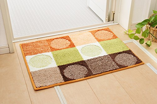 【新品】 イケヒコ バスマット 洗える 『チェロ』 オレンジ 約45×60cm 滑りにくい加工 2枚組