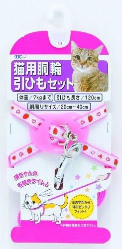 【新品】 ターキー NM イチゴ柄猫胴輪セット/ピンク