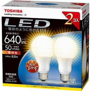 使い勝手の良い 【新品】 東芝 E-CORE(イー・コア) LED電球 一般電球形 8.8W(光が広がるタイプ・白熱電球50W相当・640ルーメン・電球色)【2個セット】 LDA9L-G-2P, トータルカーショップ AUVE 9bbf7f14