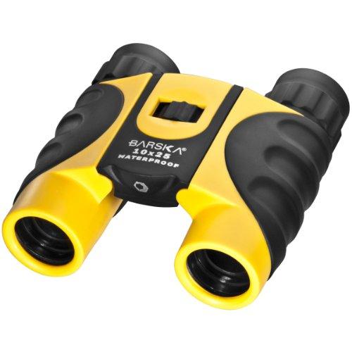 【新品】 BARSKA 10x25 コンパクト 防水 プリズム 双眼鏡 専用ケース付
