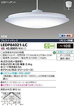 【中古】東芝(TOSHIBA) LEDペンダント 調光調色機能 10畳用 LEDP84021-LC