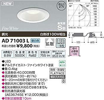 コイズミ照明 屋内屋外兼用パネルシリーズダウンライト調光タイプ(白熱球100W相当)昼白色 AD71003L:ドリエムコーポレーション