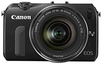 【中古】Canon ミラーレス一眼カメラ EOS M レンズキット EF-M18-55mm F3.5-5.6 IS STM付属 ブラック EOSMBK-18-55ISSTMLK