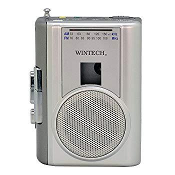 【中古】WINTECH テープレコーダー 外部マイク付属/カセット再生・録音対応/AMFMラジオ機能付/FMワイドバンド対応 シルバー PCT-02RM