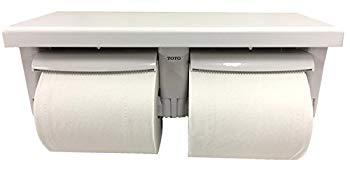 【中古】TOTO 二連紙巻器 棚付き(木質) 樹脂製 ホワイト YH601FM#NW1 芯なしペーパー対応