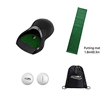 【中古】POSMA PG160B 自動でボールが帰ってくる! 電動ゴルフカップ マット付き POSMA収納用の黒バッグ