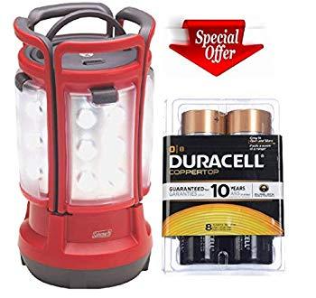 【中古】Coleman 8d LED Quad Lantern (4 Lights in One)+duracell Coppertop D Batteries 8 Count