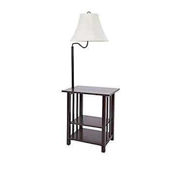 【中古】コンビネーション・フロアランプ・エンドテーブル 棚・スイングアームシェード付き ナイトテーブル/ソファ脇のマガジンラック/ベッドランプとし