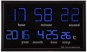 中古 未使用 未開封品 全国どこでも送料無料 Felio フェリオ デジタル壁掛け時計 アギラ ブルーLED表示 FEW120BK オンラインショップ ブラック 温度表示 カレンダー