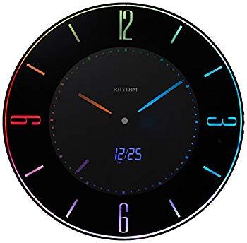 リズム時計 電波時計 【中古】掛け時計 LED使用 置き時計 8RZ197SR02 黒