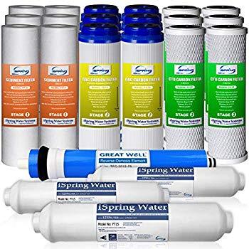 【中古】iSpring 123Filter RO(逆浸透膜)浄水器 交換消耗品 - 供給3年分、75GPD RO膜付き、型番F22-75