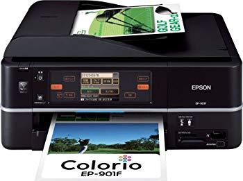 【中古】EPSON Colorio インクジェット複合機 EP-901F 有線・無線LAN標準搭載 タッチパネル液晶 FAX搭載 6色染料インク