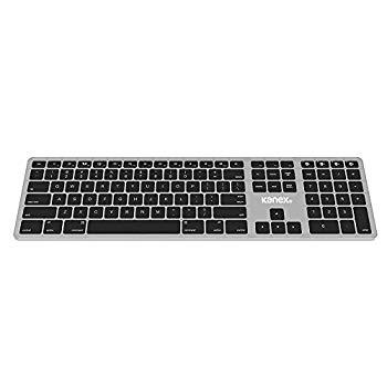 【中古】Kanex MultiSync Mac用 フルサイズ キーボード(充電式バッテリー内蔵) ブラックキー/アルミ仕上げ