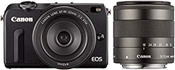 【中古】Canon ミラーレス一眼カメラ EOS M2 ダブルレンズキット(ブラック) EF-M18-55mm F3.5-5.6 IS STM EF-M22mm F2 STM付属 EOSM2BK-WLK