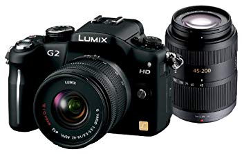 【中古】パナソニック デジタル一眼カメラ G2ダブルズームレンズキット14-42mm/F3.5-5.6・45-200mm/F4.0-5.6付属) コンフォートブラック DMC-G2W-K