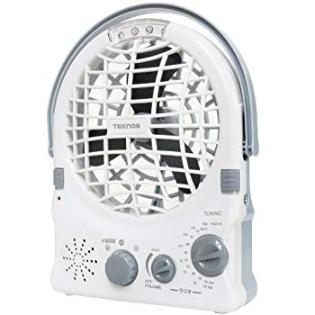 【中古】TEKNOS 4電源(内蔵充電池/AC電源/乾電池/USB)対応 多機能ミニ扇風機 12cm BKL-M85 【強弱切替・AM/FMラジオ・4灯LEDライト搭載】