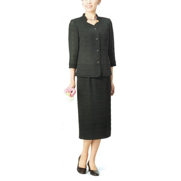 【送料無料】【代引無料】【Margurite Roman】サマーフォーマルブラック・スーツ 丹後ちりめん【9号・11号・13号】【日本製】30代 40代 50代 60代のミセス・シニアファッション