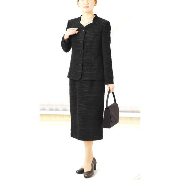 【送料無料】【Marguerite Roman】丹後ちりめんの ブラックフォーマル・スーツ 【9号】【11号】【13号】【15号】ミセス・シニアに♪30代40代50代60代のレディスファッション