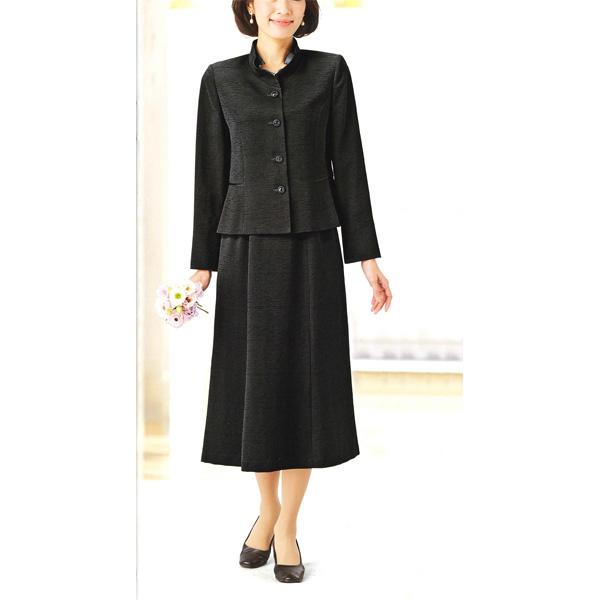 【送料無料】【Marguerite Roman】米沢織の ブラックフォーマル・スーツ 【9号】【11号】【13号】【15号】ミセス・シニアに♪30代40代50代60代のレディスファッション
