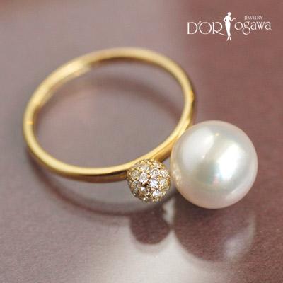 18k 18金 アコヤ真珠 &ダイヤモンドリング fioreパールシリーズ アコヤパール k18yg イエローゴールド