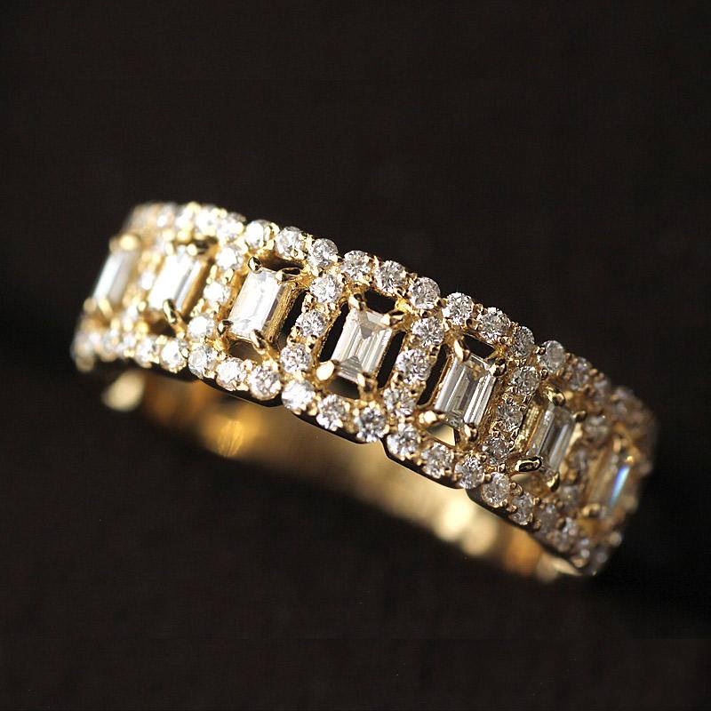 最高品質の ダイヤ 0.58ct リング 12号 18金 指輪 ダイヤモンド ダイヤ バケットカット デザインリング 【H】 izh 201911, エムズオートカンサイ 6835c5b1