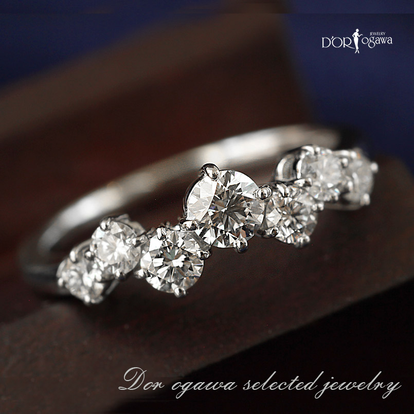 Pt900 アウトレット 0.661ctダイヤモンドリング11号【H】7石のダイヤモンド セブンダイヤ現品限り 在庫処分 プラチナ